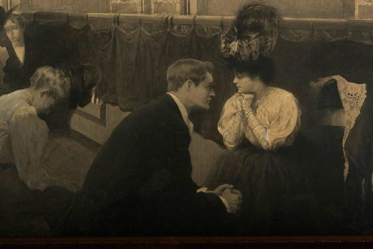 Victorian Mourning Interior Scene - Black Portrait by C. Clyde Squires