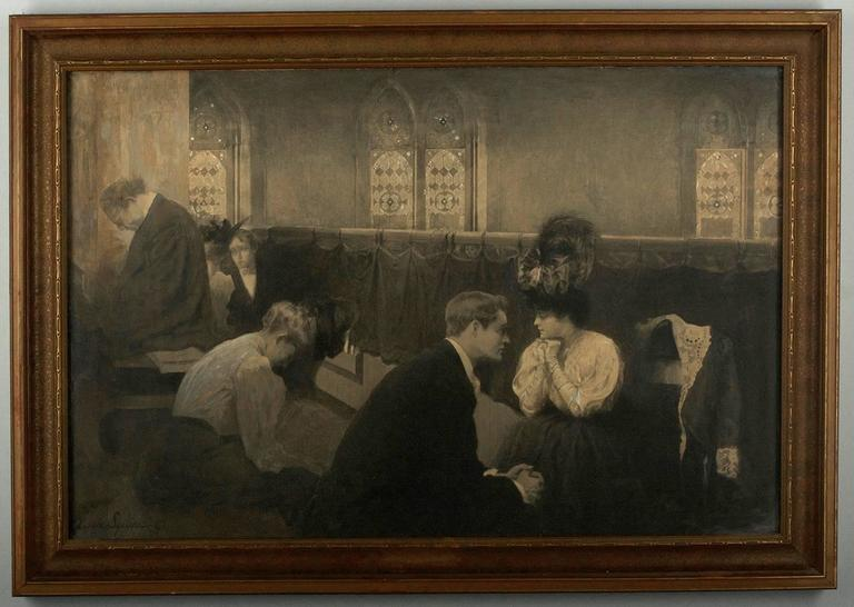 Victorian Mourning Interior Scene - Art by C. Clyde Squires