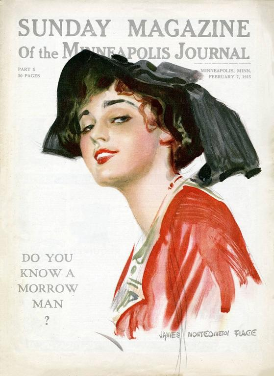 An early watercolor on illustration board portrait painting by beloved American illustrator James Montgomery Flagg which appeared as the cover of the February 7, 1915 Sunday Magazine of the Minneapolis Journal. With the development in color