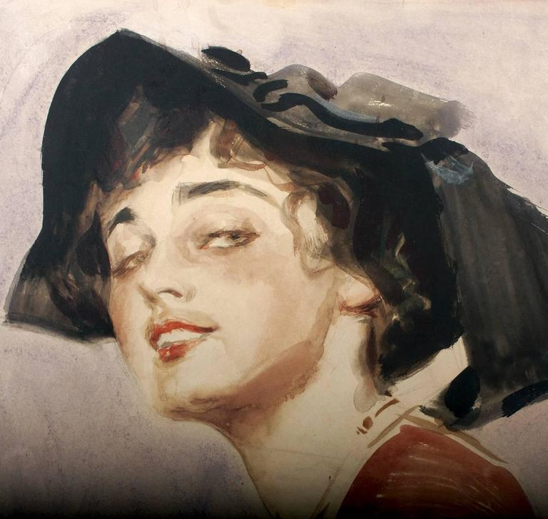 An Edwardian Beauty - Brown Portrait by James Montgomery Flagg
