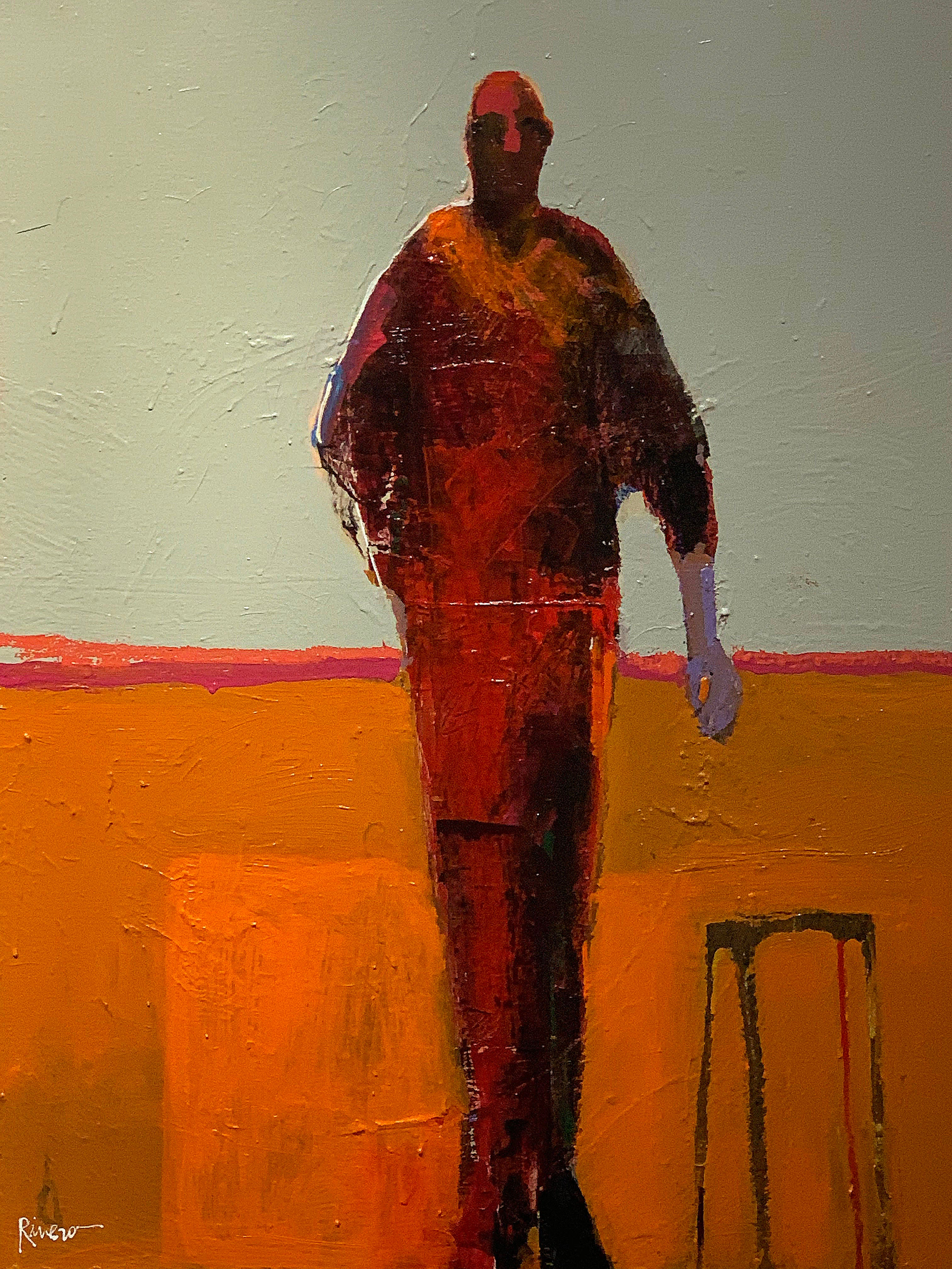 Personaje with Stool, standing figurative painting, orange and taupe