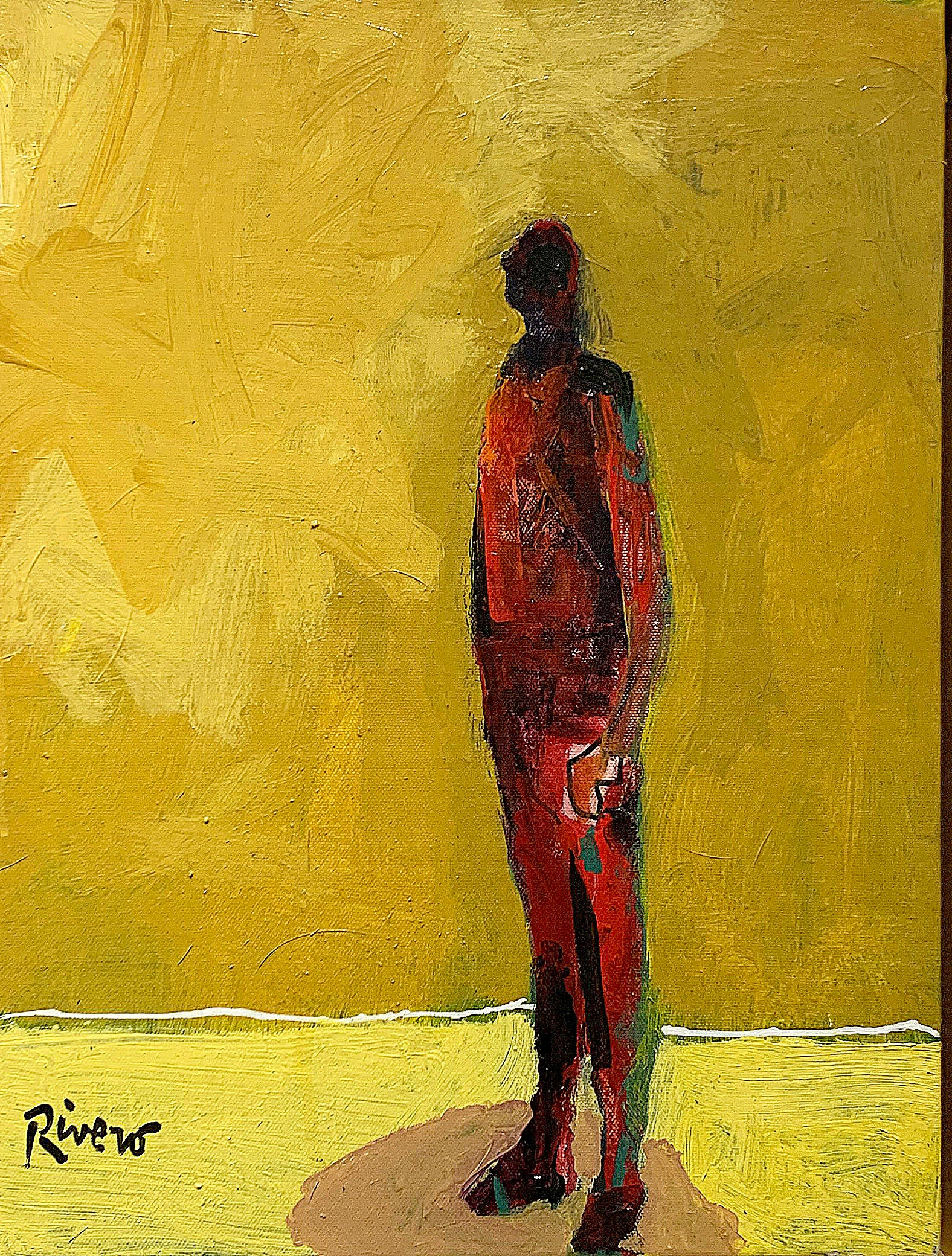 Personaje, figurative acrylic painting of man standing facing left
