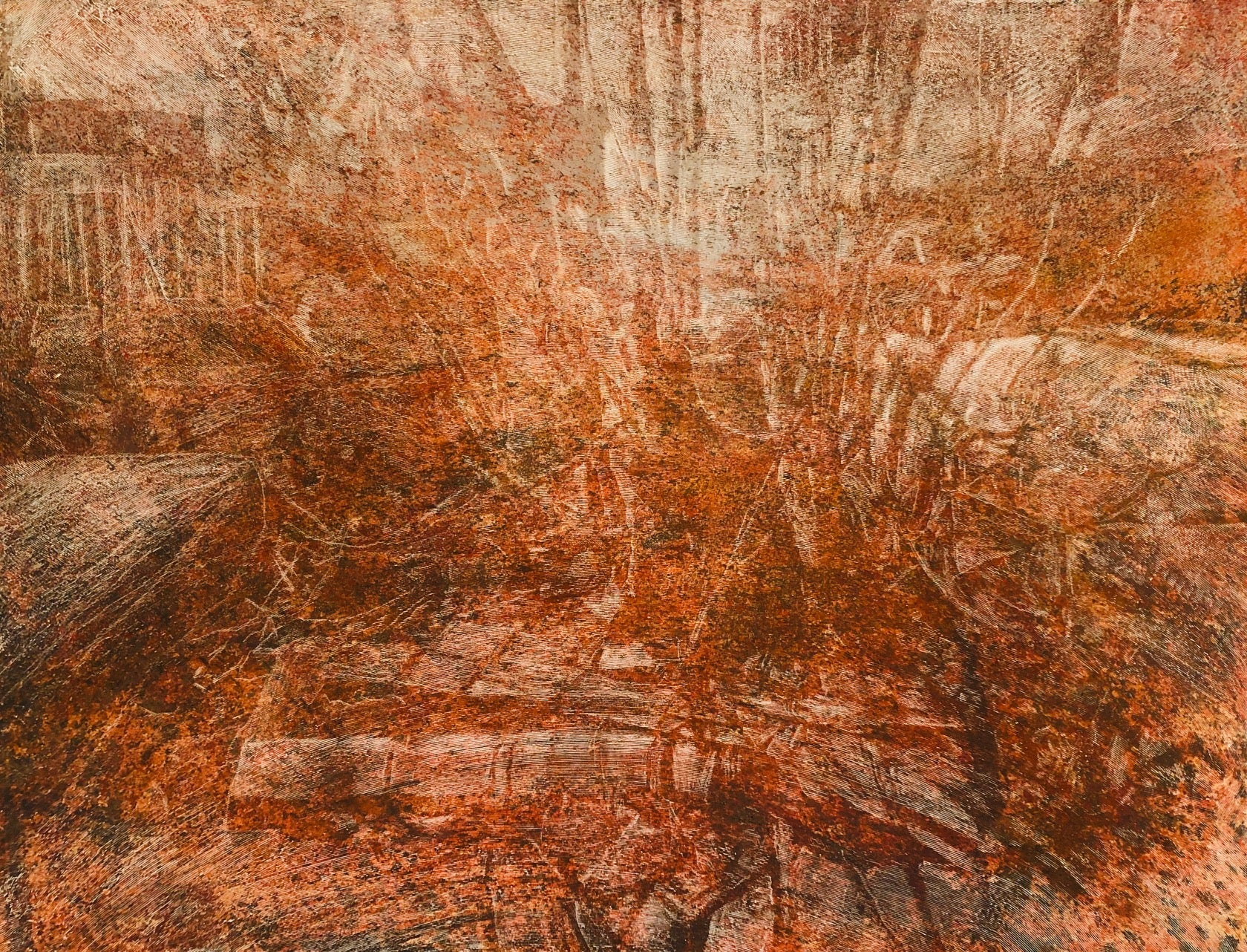 """Untitled - Tree Series"" Sienna and orange textured surface with ghost  images"