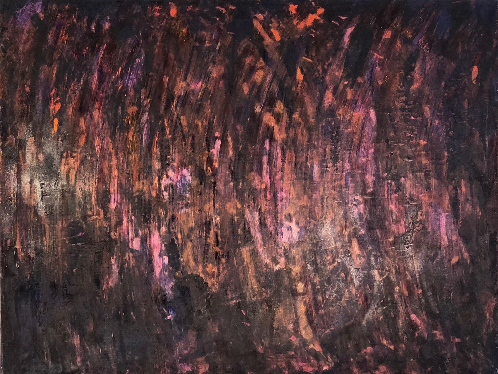 """""""Untitled - Deep purple, violet"""" Combed painterly surface in purple textures"""