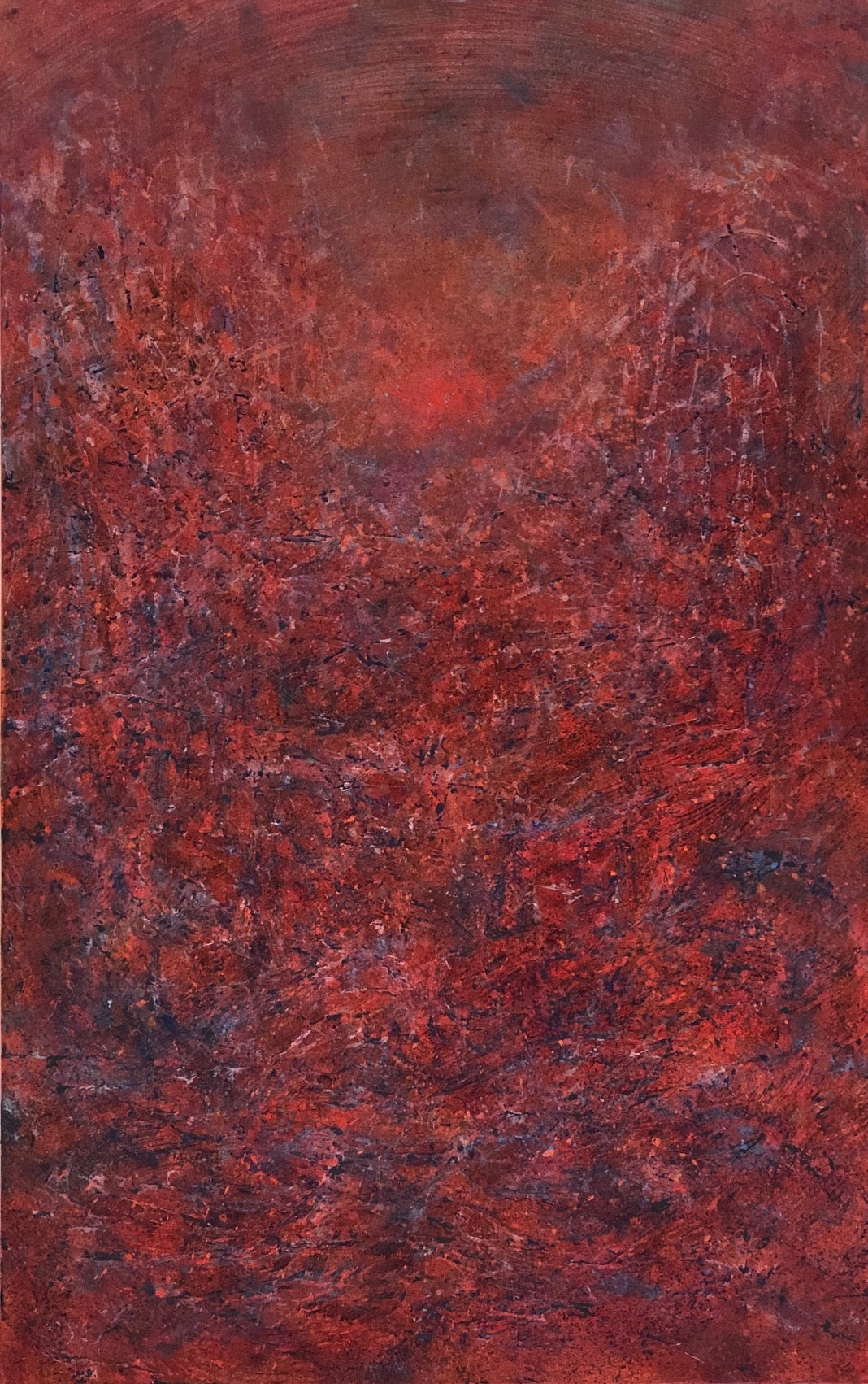 """Untitled - Red, from the Storm Series"" Red textured painting with distant sun"