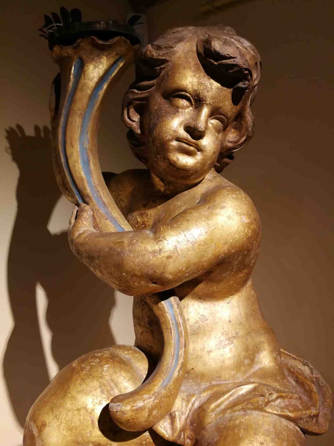 Tuscan Manufacturer, Baroque Putto Candle Holder, 17th-18th, gilded wood