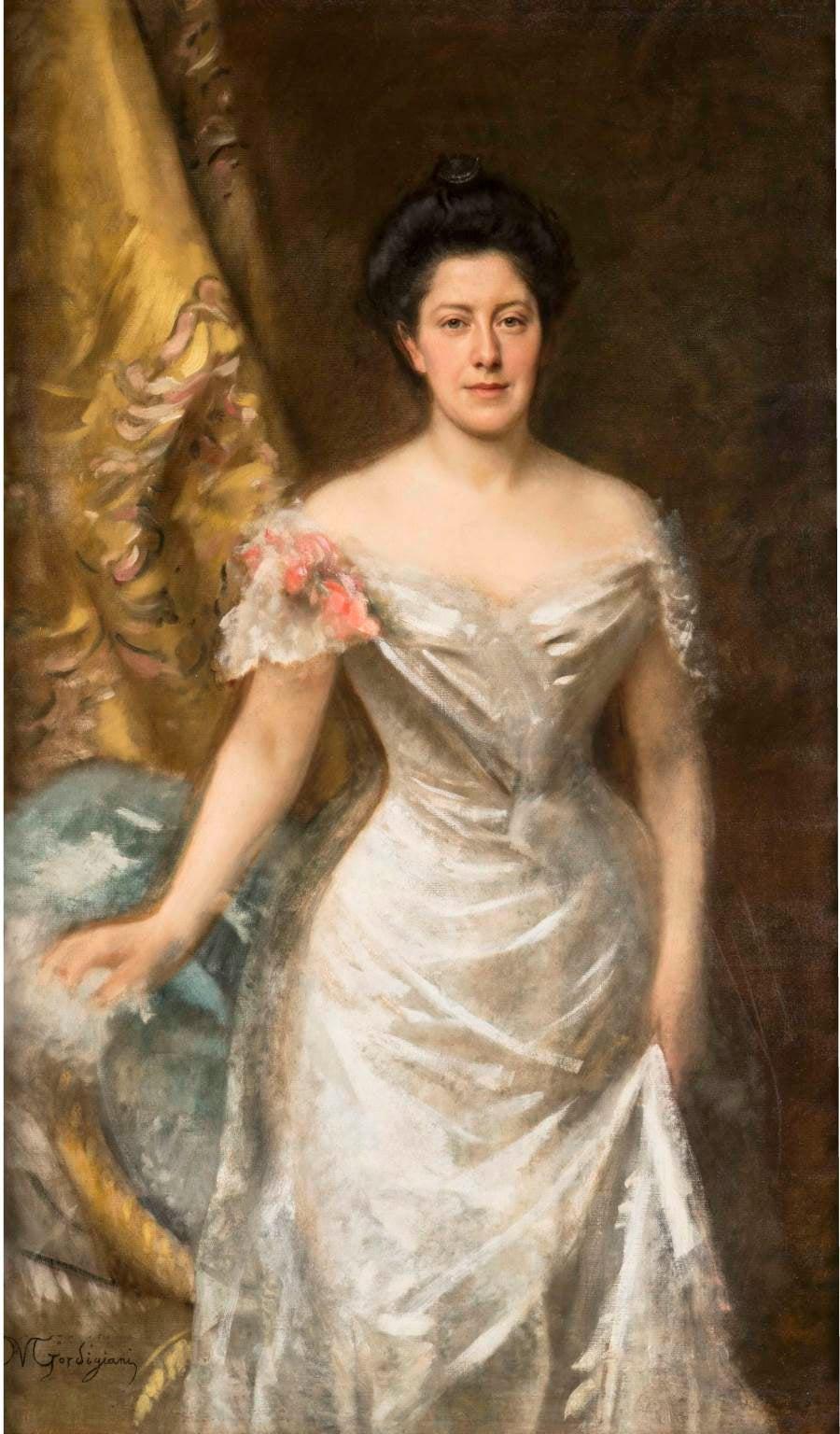 Michele Gordigiani, Portrait of a lady, 1880 circa, oil on canvas, signed