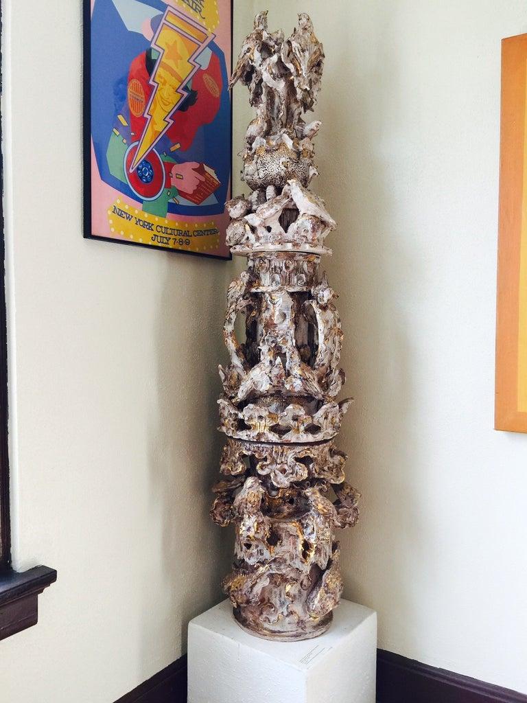 "Thomas McCanna Figurative Sculpture - ""Totem Fantasy with Birds"" Fountain"