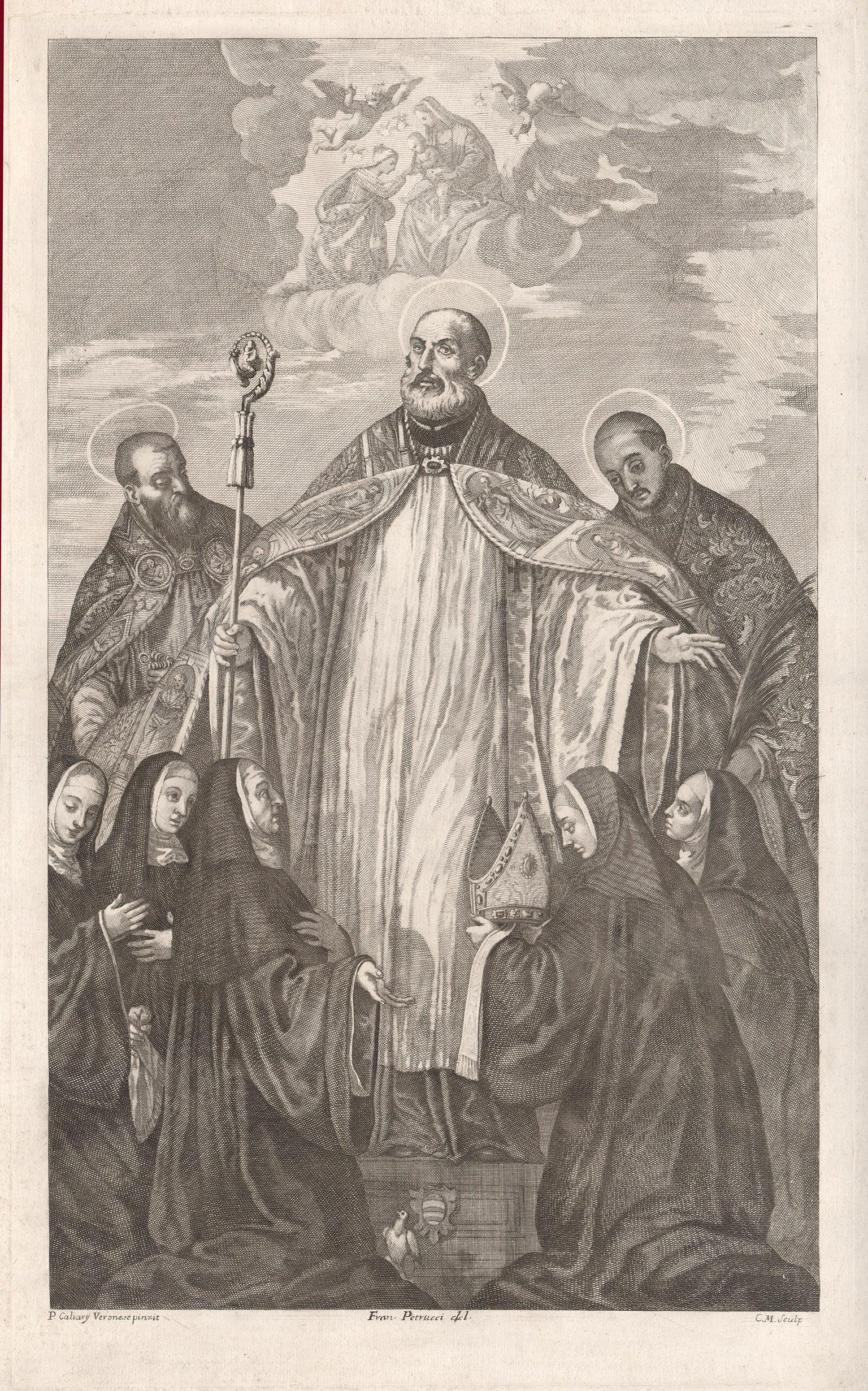 San Benedetto Con Altri Nanti, religious engraving after Veronese, circa 1700