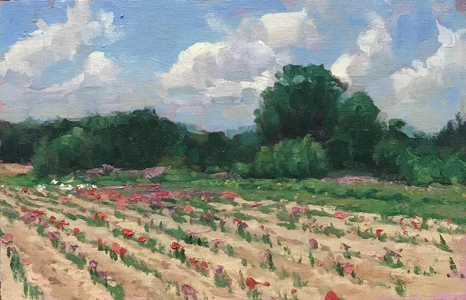 Floral Landscape Flower Fields I Impressionistic Oil Painting by Michael Budden