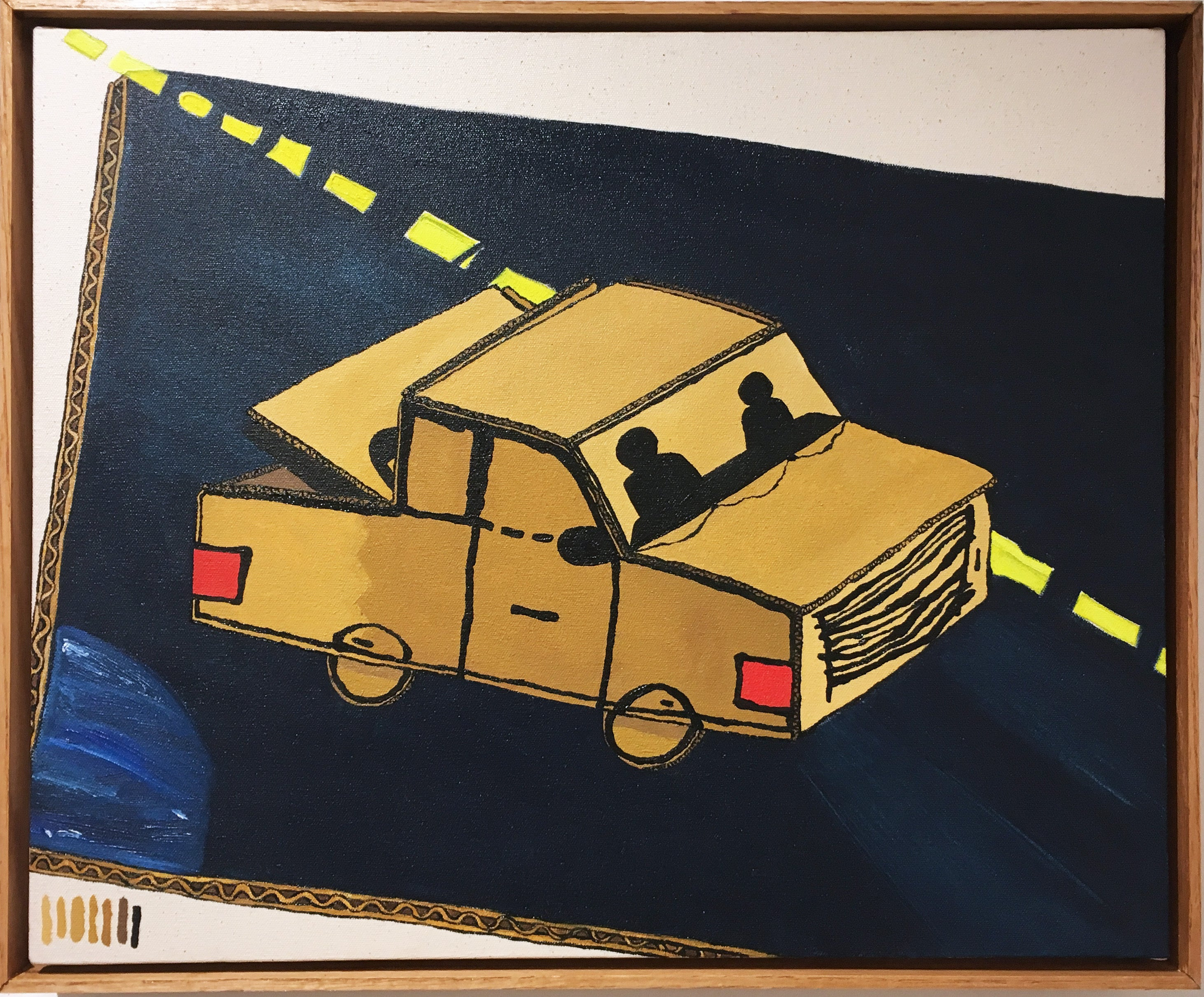 Road Trip, 2020, oil paint, figurative, truck, blue, white, yellow, beige, brown