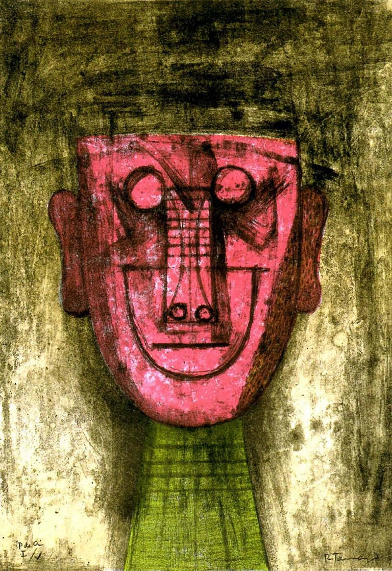 Rufino Tamayo, Untitled (Red Face), 1973, (9/100), lithograph - Print by Rufino Tamayo
