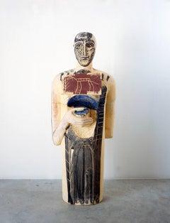 Mimmo Paladino, Testimone, 2004, painted terracotta