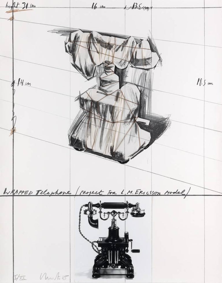 Christo, Wrapped Telephone, Project for L. M. Ericsson Model, 1985, Lithograph - Print by Christo and Jeanne-Claude