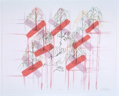 Ghada Amer & Reza Farkhondeh, Kiss Cross, 2006, (1/2) Lithograph with Hand Sewn