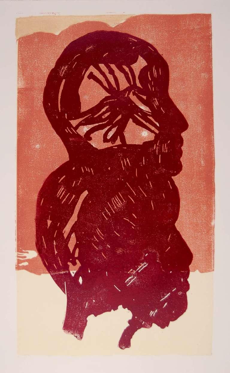 Manuel Amorim, Duex TeTes, 2007, (5/5), woodcut