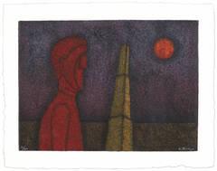 Rufino Tamayo, Figura en Rojo, 1989, (14/100) mixografia print on handmade paper