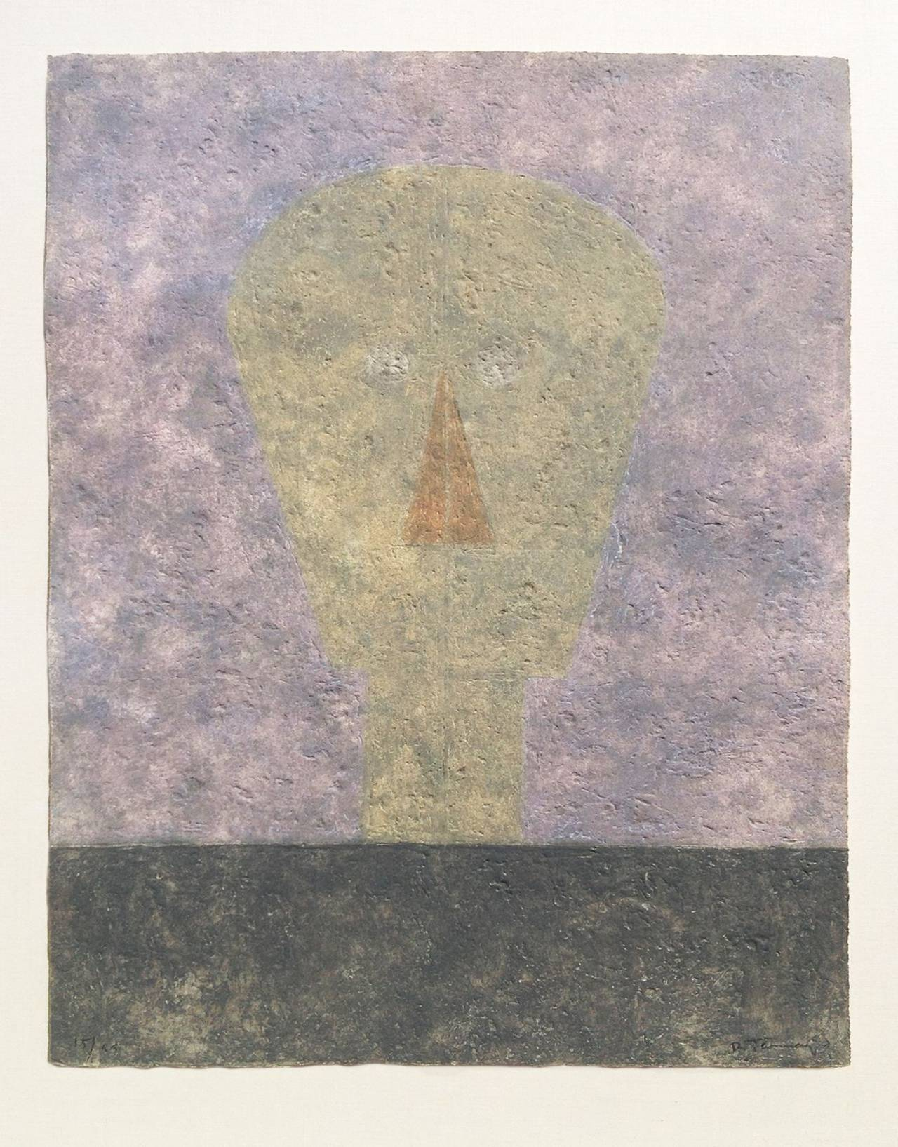 Rufino Tamayo Print - Cabeza Sobre Fondo Rosa (Head on Pink Background)