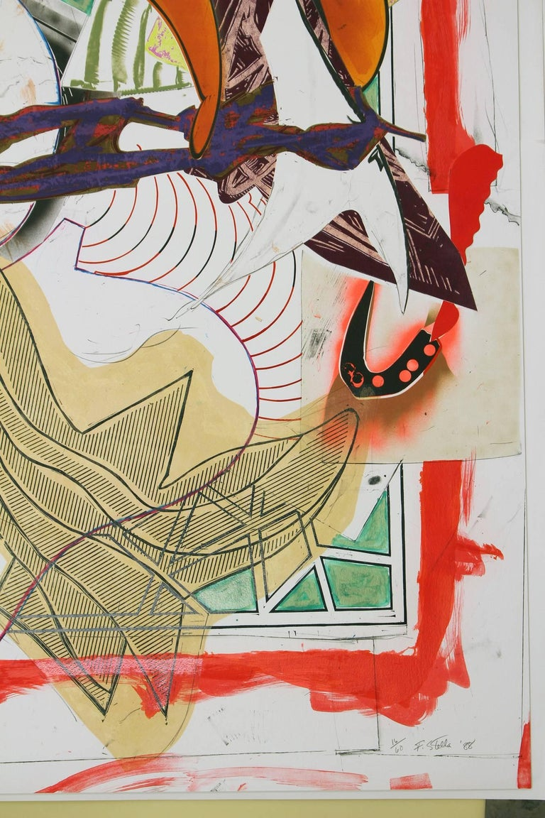 Frank Stella Hark!, 1988 silkscreen, lithography and linoleum block with hand-coloring and collage 73.75 x 52.87 in un-framed