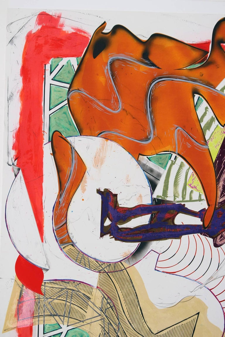Frank Stella, Hark!, 1988 silkscreen, lithography, linocut with hand-coloring,  For Sale 1
