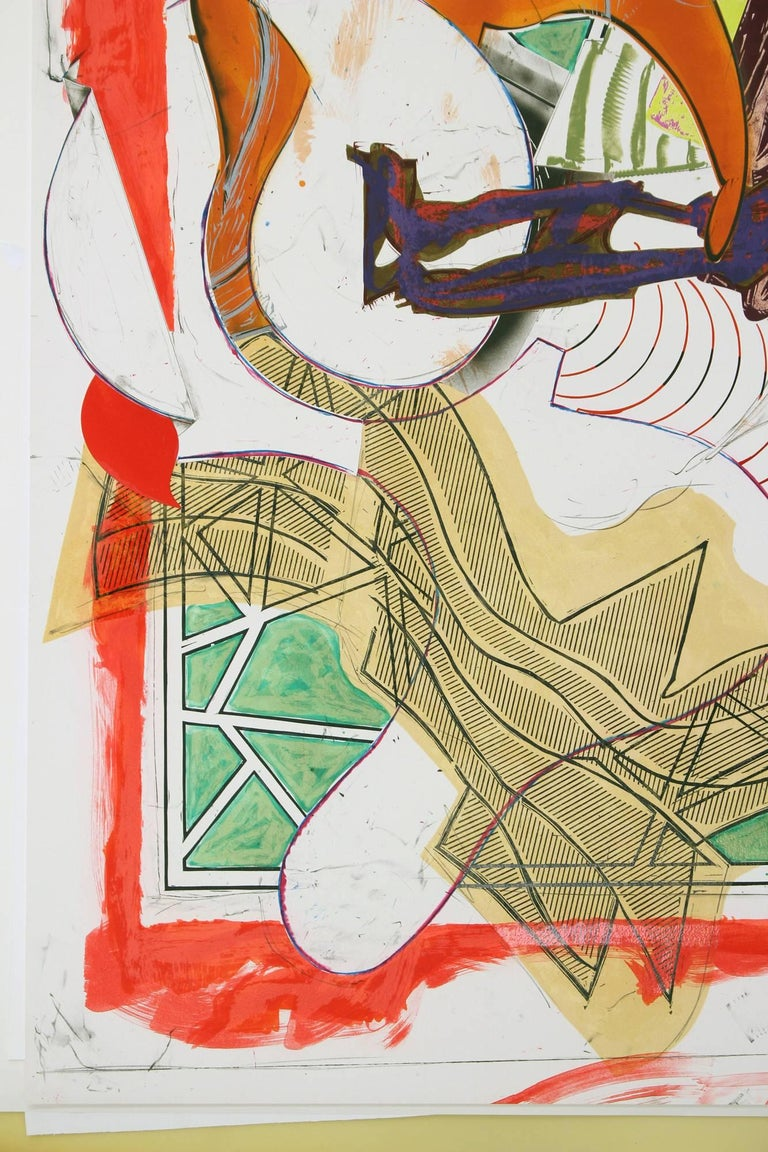 Frank Stella, Hark!, 1988 silkscreen, lithography, linocut with hand-coloring,  - Contemporary Print by Frank Stella