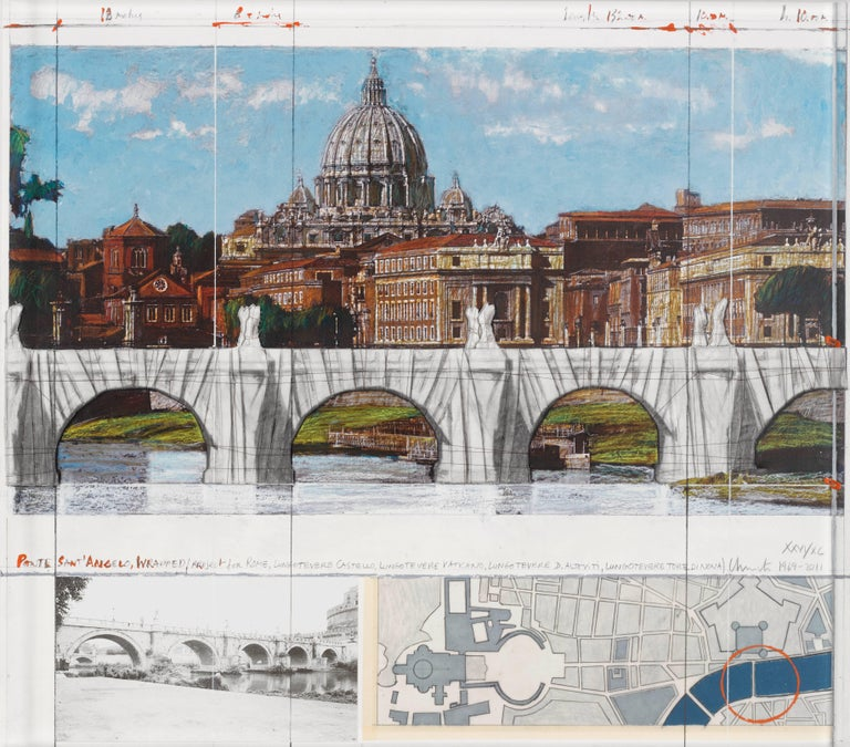 Christo and Jeanne-Claude Landscape Print - Ponte Sant'Angelo, Wrapped, Project for Rome, 2011, mixed-media
