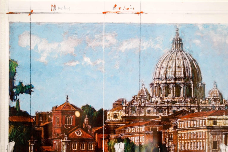 Ponte Sant'Angelo, Wrapped, Project for Rome, 2011, mixed-media  - Contemporary Print by Christo and Jeanne-Claude