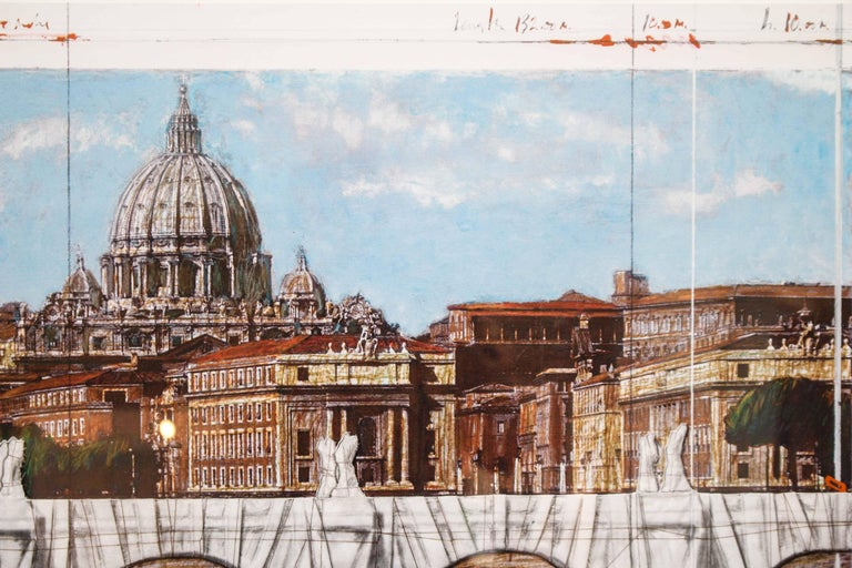 Ponte Sant'Angelo, Wrapped, Project for Rome, 2011, mixed-media  - Gray Landscape Print by Christo and Jeanne-Claude