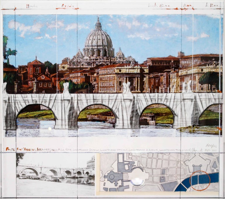 Ponte Sant'Angelo, Wrapped, Project for Rome, 2011, mixed-media  For Sale 9