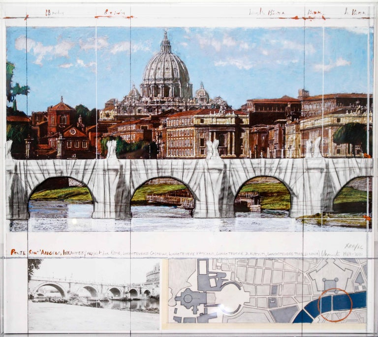 Ponte Sant'Angelo, Wrapped, Project for Rome, 2011, mixed-media  For Sale 10