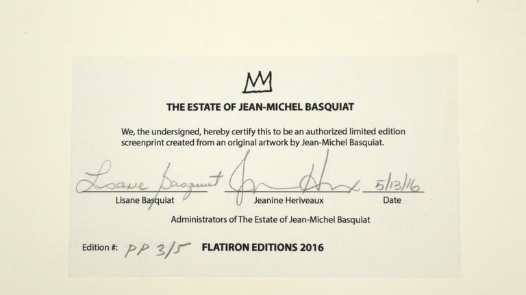 Authenticated by the Basquiat Foundation. PP 3/5 outside the edition of 85. Published by Flatiron Editions, New York.  Over the course of his tragically short life, Jean-Michel Basquiat created some of the twentieth century's most arresting artwork.