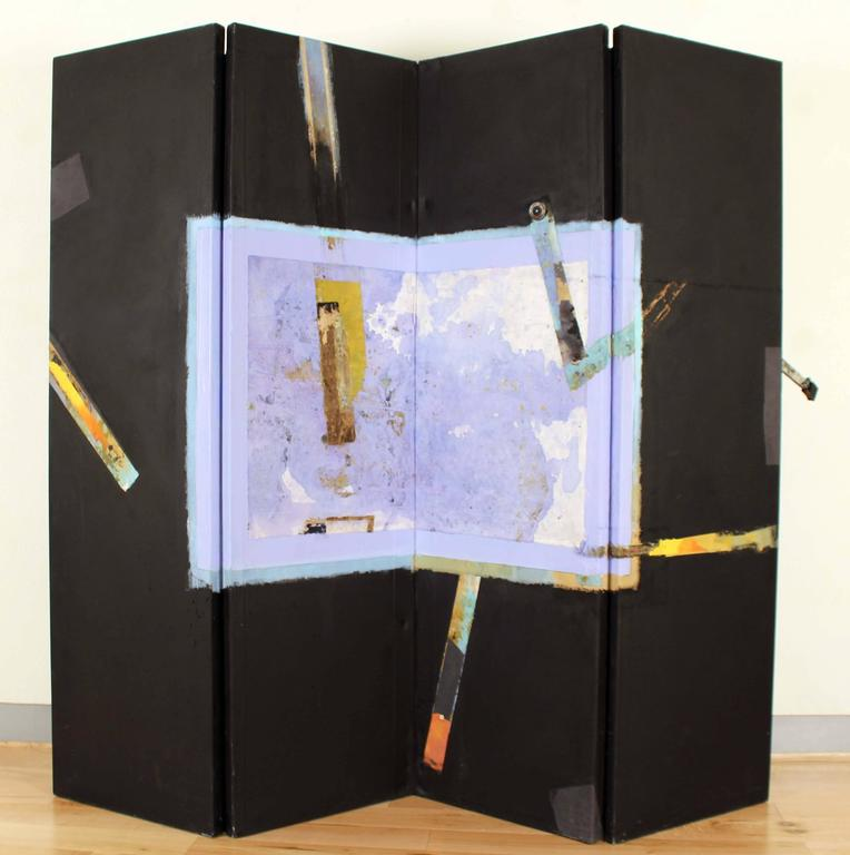 4 Panel Large Blue/Black Screen - Mixed Media Art by Armond Lara