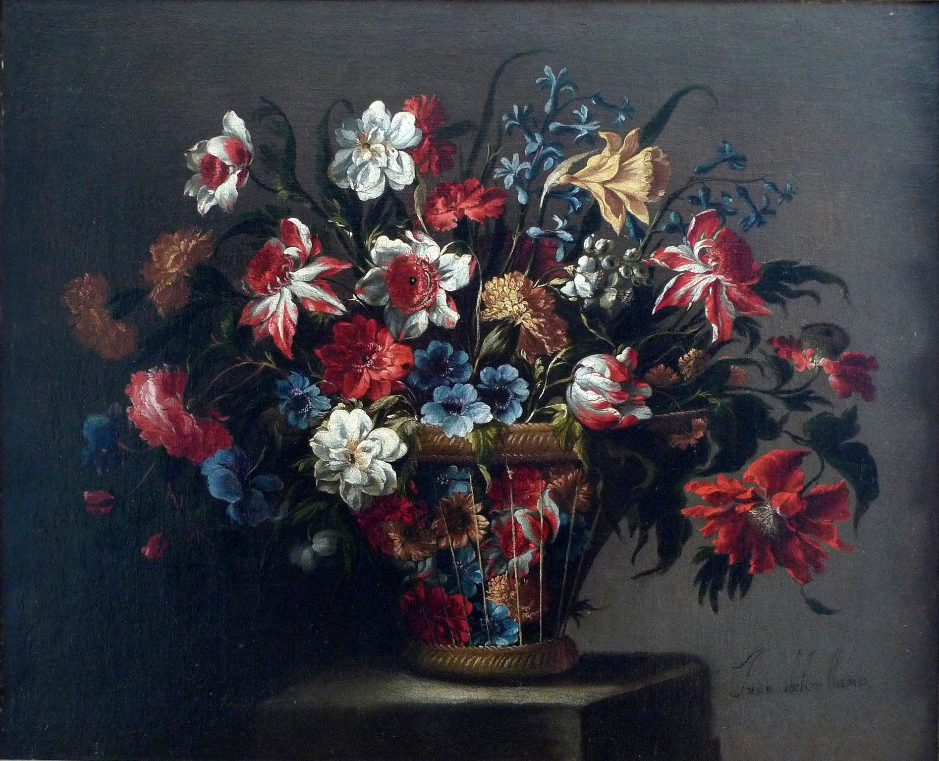 """Cesta de flores"", 17th Century oil on canvas, still flowers by Juan de Arellano"