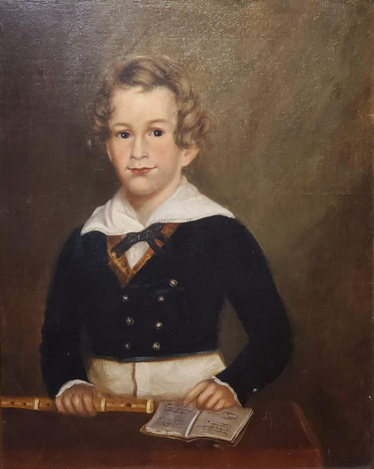 Pair of Oil Portraits of Children In North Carolina circa 1830 For Sale 3