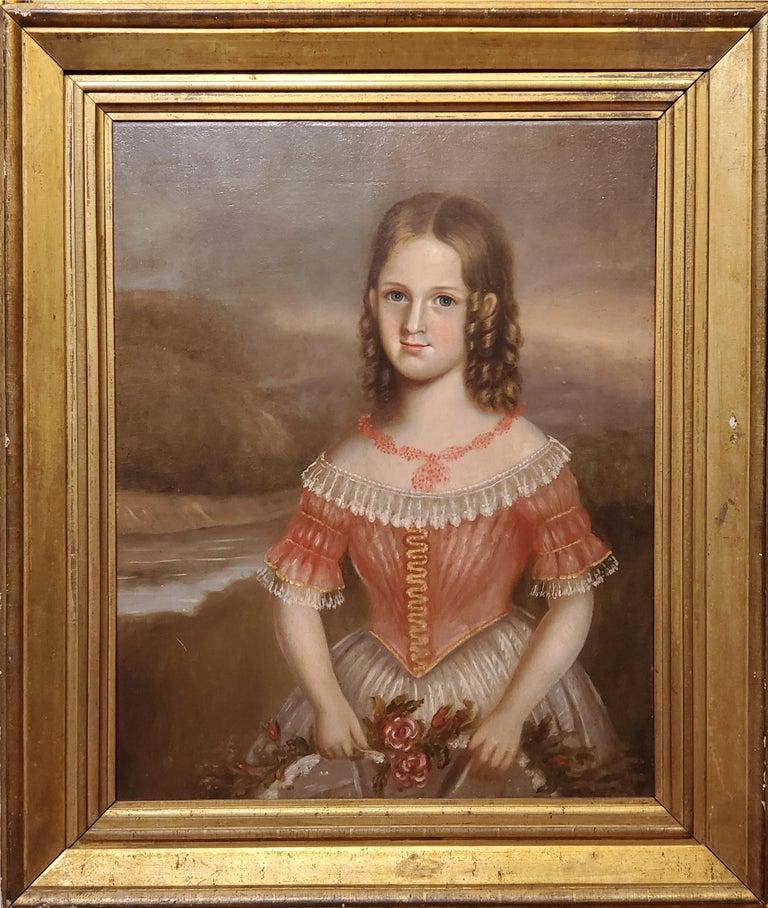 Pair of Oil Portraits of Children In North Carolina circa 1830 For Sale 2