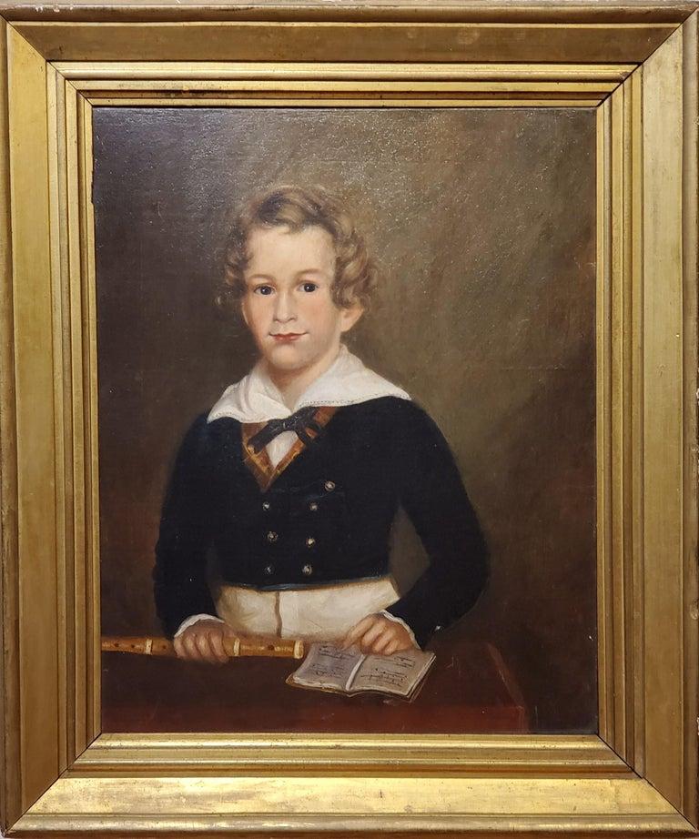 Pair of Oil Portraits of Children In North Carolina circa 1830 For Sale 1