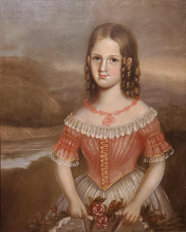 Pair of Oil Portraits of Children In North Carolina circa 1830 For Sale 4