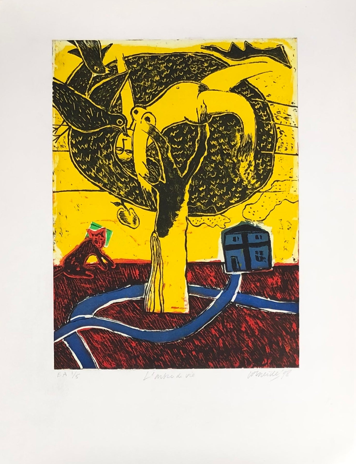 'Tree of life'. Coloured lithograph. Signed, titled, dated and numbered EA 1/5
