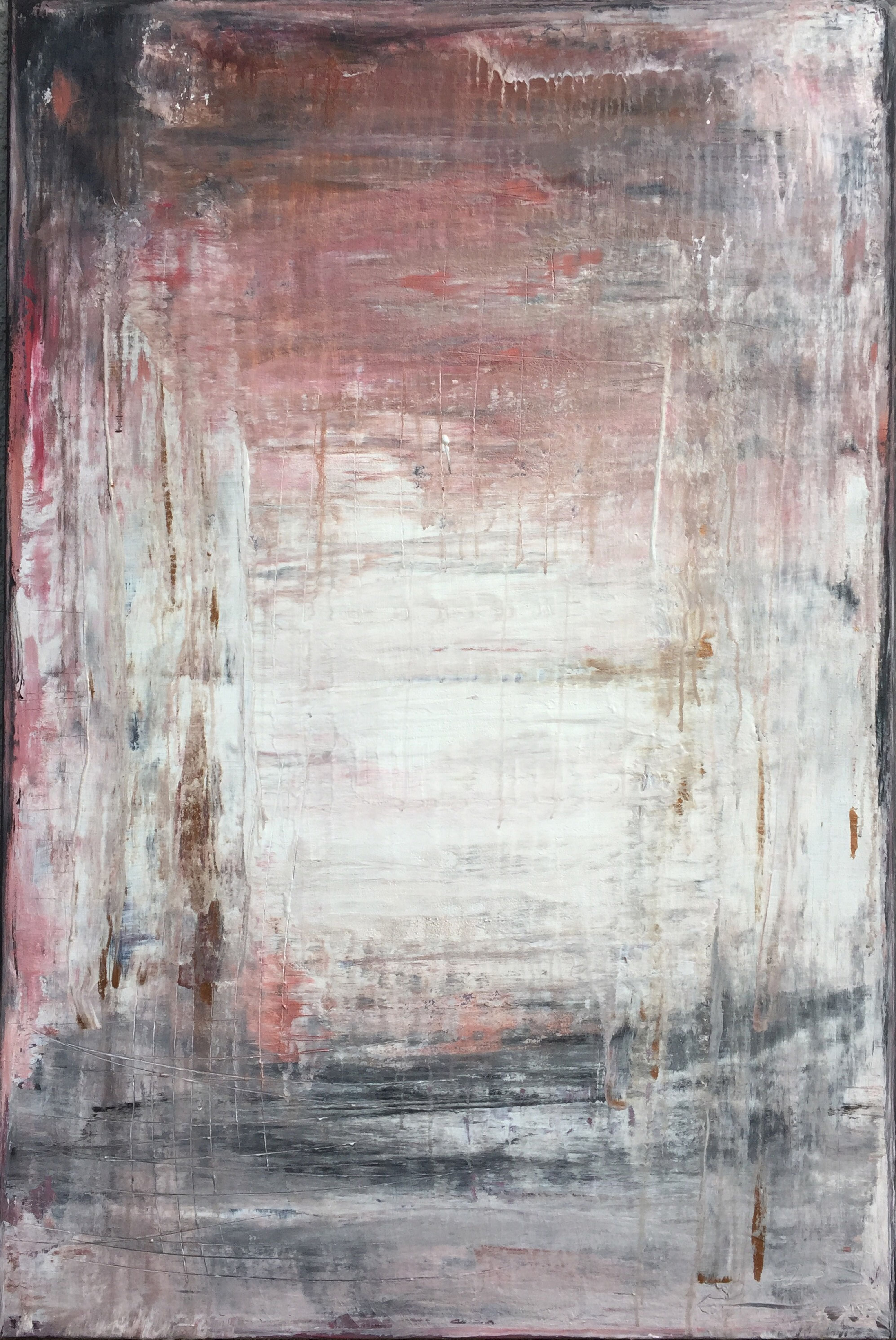"""1117 abstract antique white/red"" Abstract, Painting, 21st Century, Acryl"