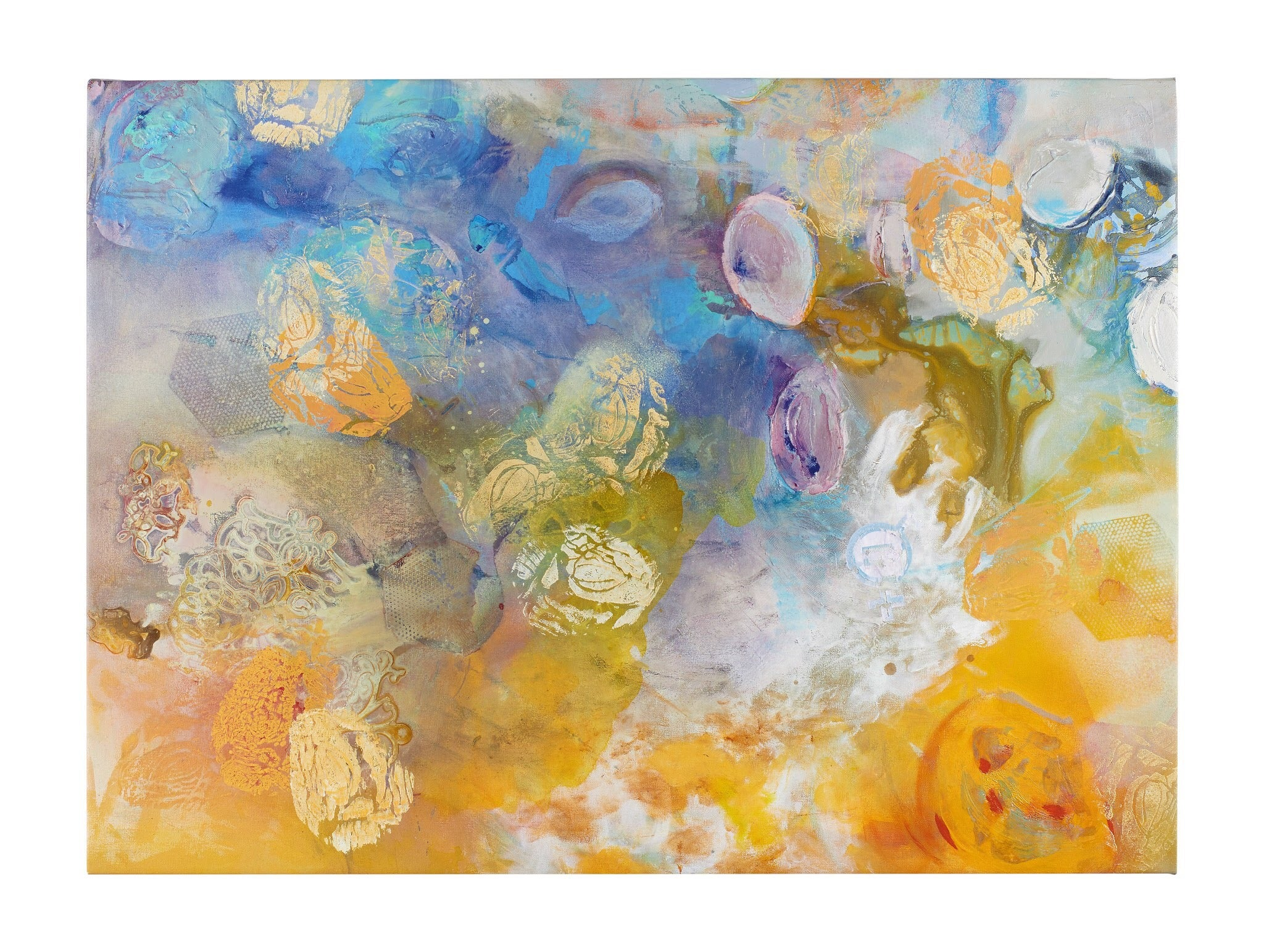 """""""Origins"""" - Beautiful Mixed Media Abstract Painting with Yellow, Blue, Orange"""