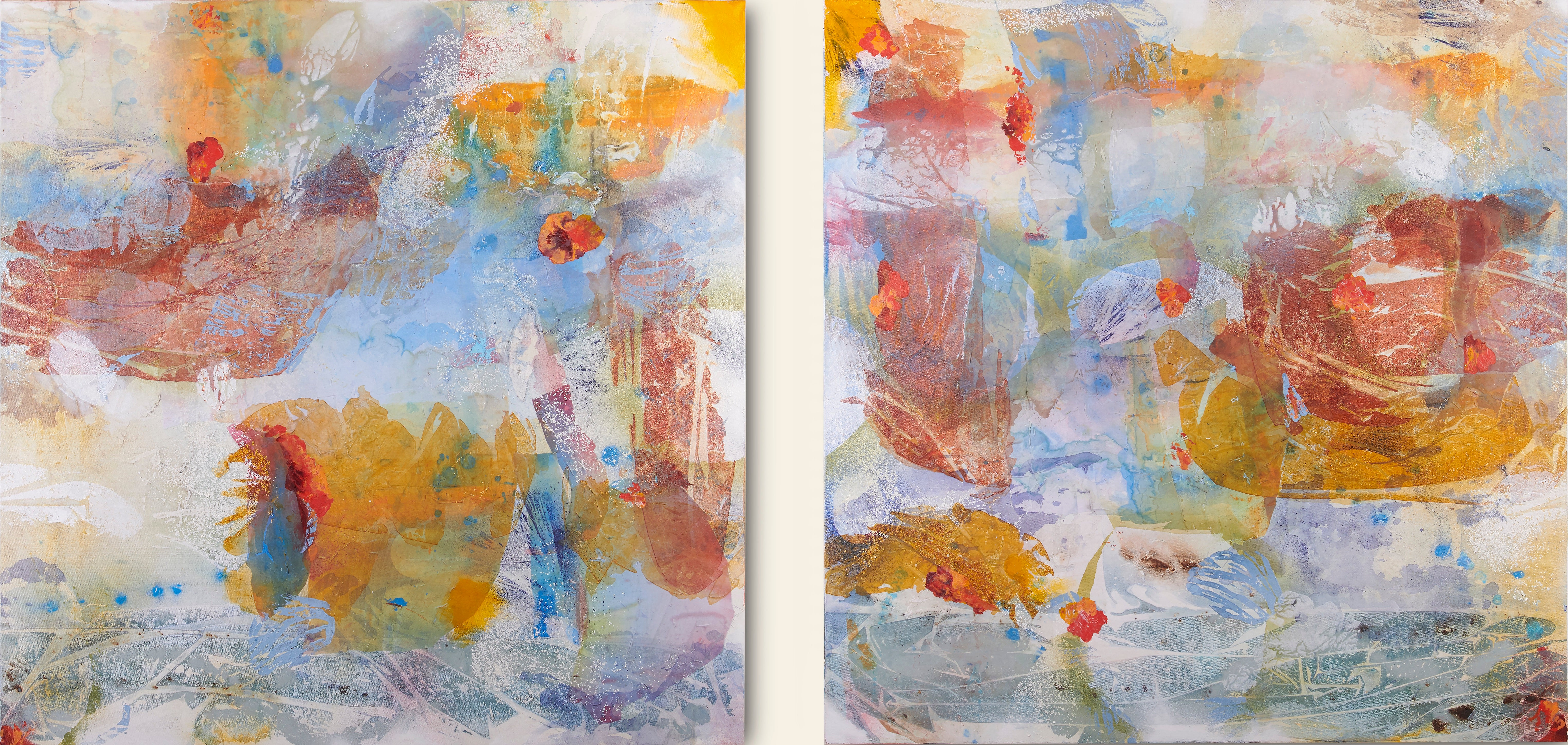 Water Barge with Onlookers (Diptych) Stunning Abstract Landscape in Blue + Grey
