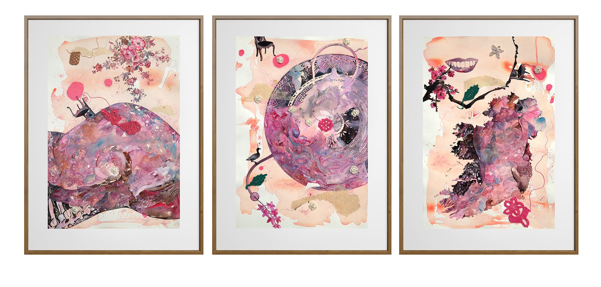 """My Body, My Soul"" - Gorgeous Triptych by Indian Artist - Framed in Light Wood"