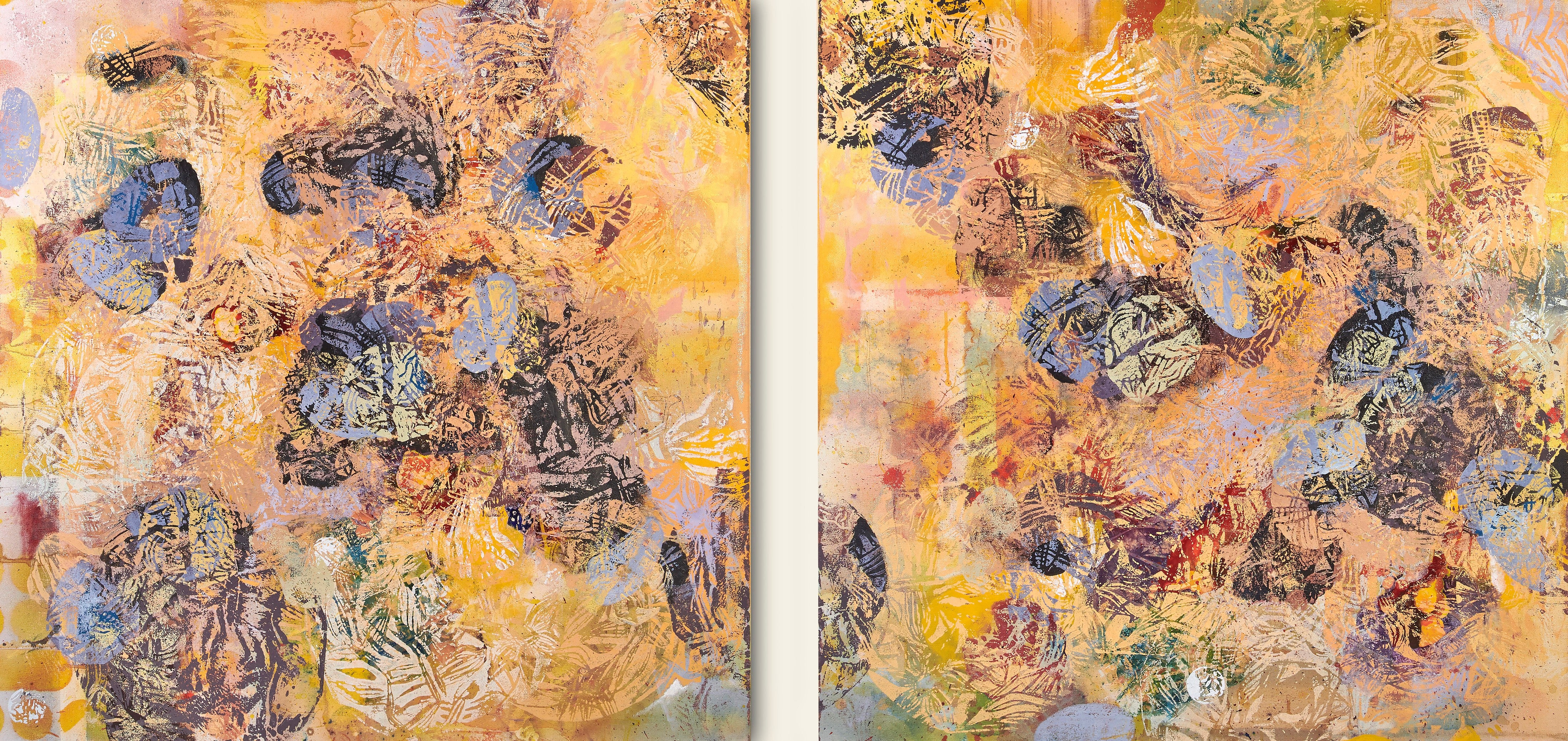 Muscle Dancing - Strong Abstract Diptych in Yellow + Blue + Orange with Lino Cut