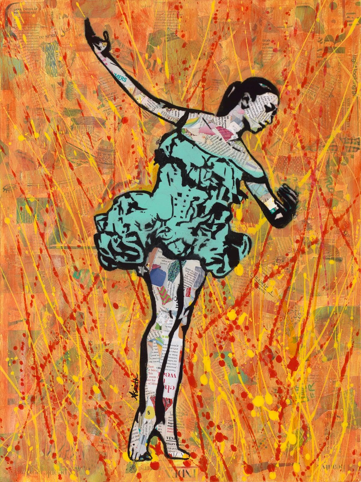 Fire Dancer - Framed Abstract Mixed Media Pop Art Painting of Ballet + Orange