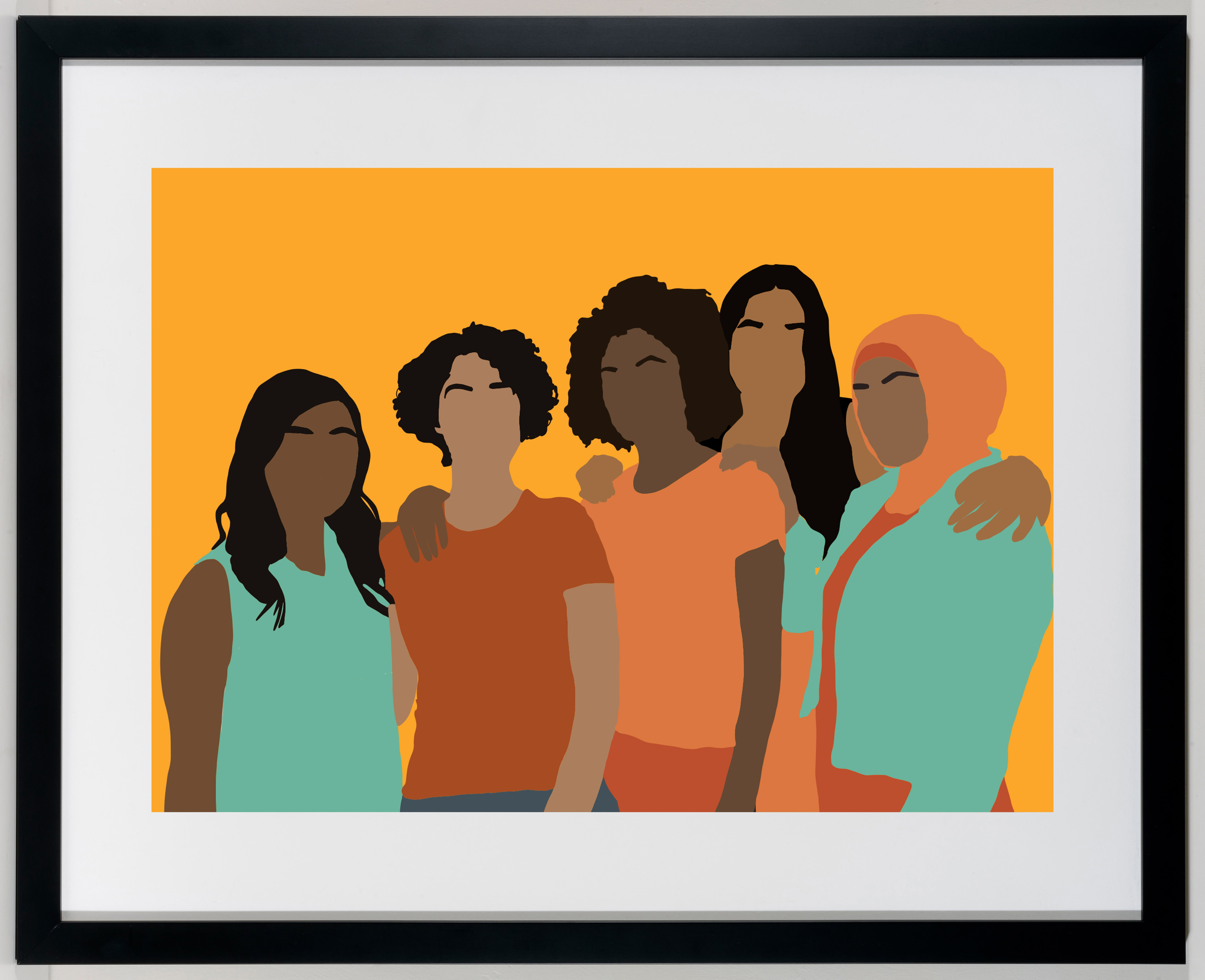 Congregate - Framed Colorful Print of Womanhood / Sisterhood / Women of Color