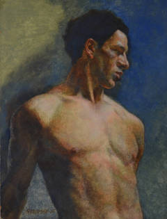 Nude Male in Blue
