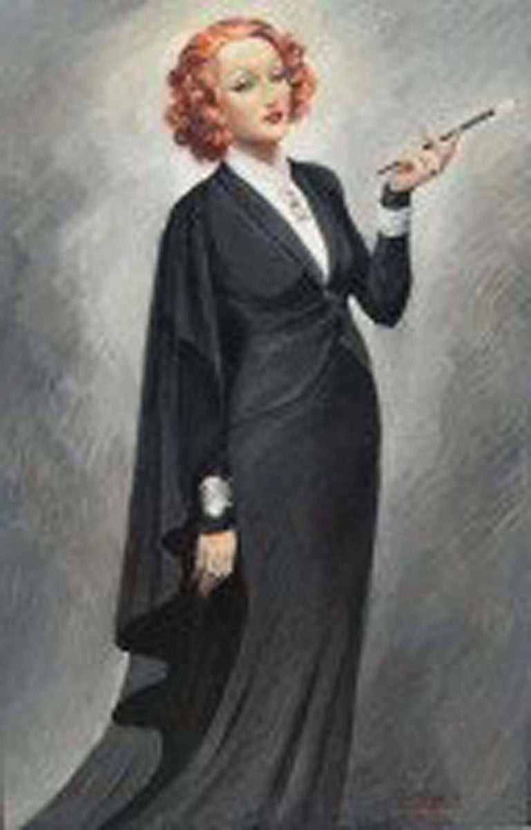 Jean Dominique van Caulaert Figurative Painting - Portrait of Marelen Dietrich