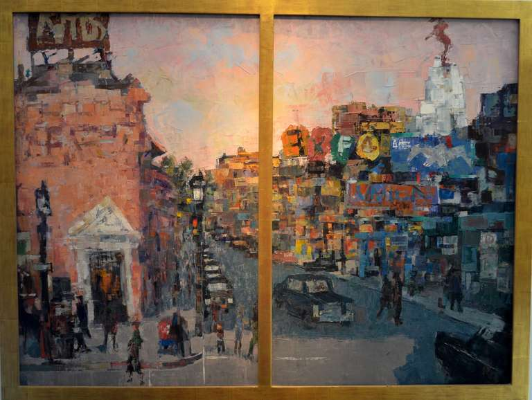 """Ron Blumberg Landscape Painting - """"Westwood Village: The Red Horse"""""""