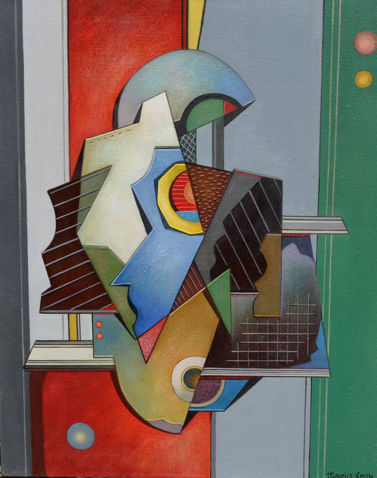 Maurice Green Abstract Painting - Cubist Abstract in Green
