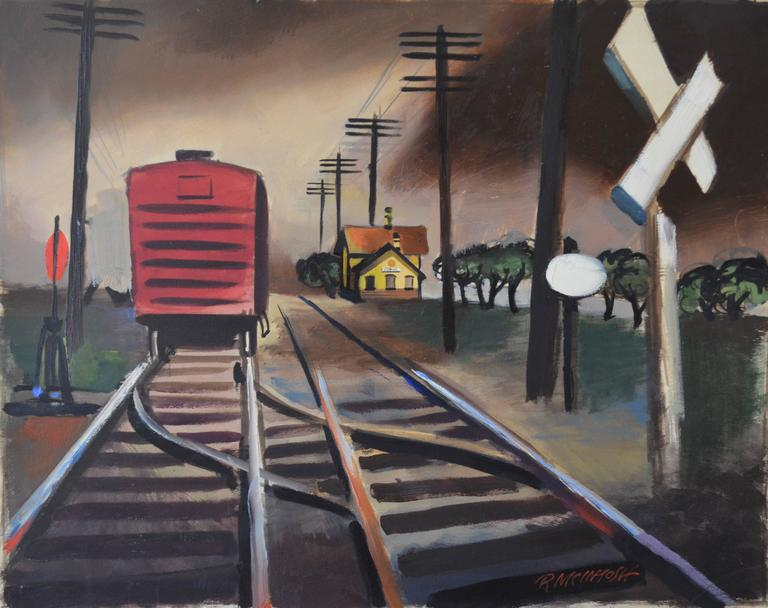 Robert McIntosh Landscape Painting - The Red Box Car WWII